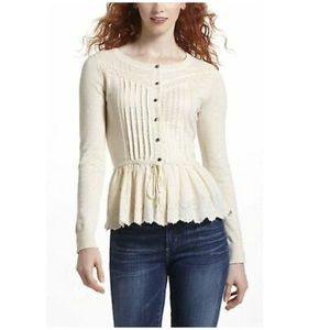 Anthro Leifnotes Lace Knit Pleated Drawn Blouse